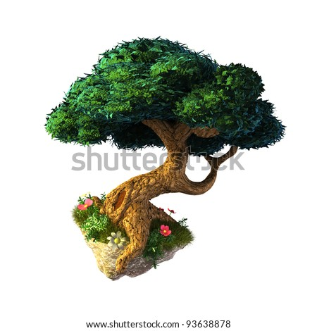 Nice tree floating in the sky - stock photo