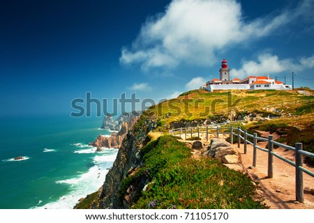 Nice view of a lighthouse with the ocean in Portugal - stock photo