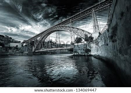 Nice view of Porto and Dom Luis I bridge. Portugal - stock photo