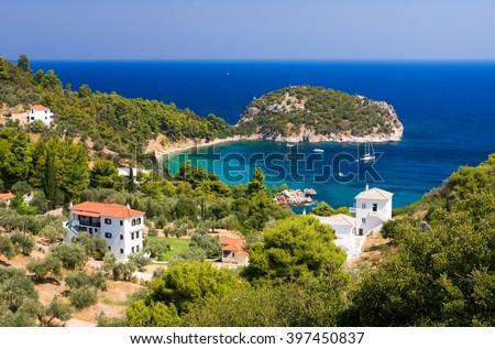 Nice view of Stafilos bay holiday resort, Skopelos island (Greece) - stock photo