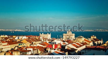 Nice view on the old town of Lisbon, Portugal - stock photo