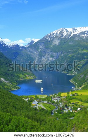 Nice View to the Atlantic ocean, Geiranger fjord - stock photo