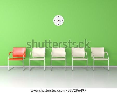 Nice waiting room with green wall - stock photo