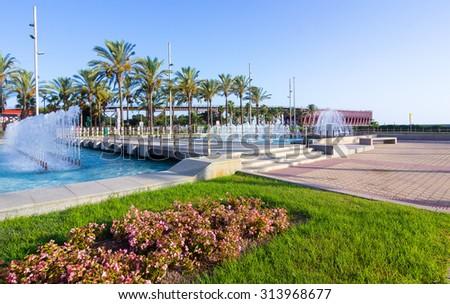 nice walking areas of Nicolas Salmeron Park Almeria, Spain - stock photo