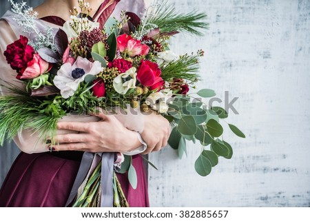 nice women with flowers - stock photo