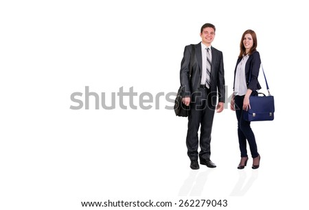 Nice young couple. Young male and female students with bags officially dressed on white background - stock photo