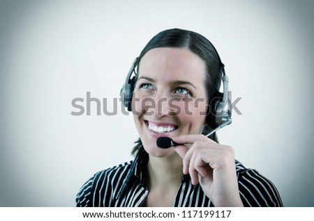 nice young woman operator in different situation - stock photo
