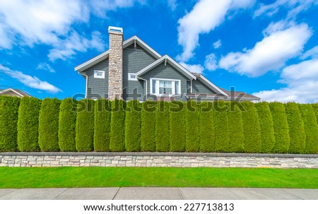 """Nicely trimmed """"Green fence ' from evergreen plants dividing the street and private property. Keeps privacy and security. Landscape trimming design. - stock photo"""
