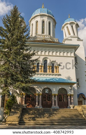 Nicholas Cathedral (Church Drunk)  built in 1939. Church of St. Nicholas. Church domes with drunken. Architecture in the old town Chernivtsi. Western Ukraine. Chernivtsi.  - stock photo