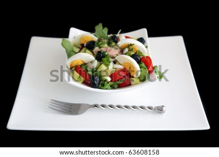 Nicoise salad: portion of nicoise salad (tuna, egg, lettuce, tomato, olives, onion, peppers...) on simple white plate with fork. Shot on black background. - stock photo