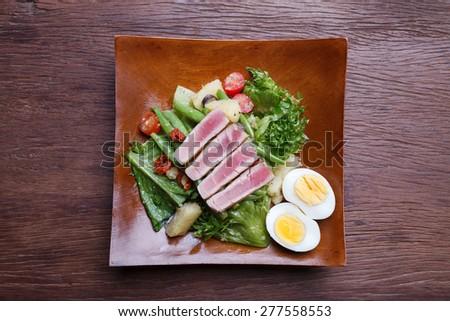 Nicoise with Tuna and Vegetables Salad - stock photo