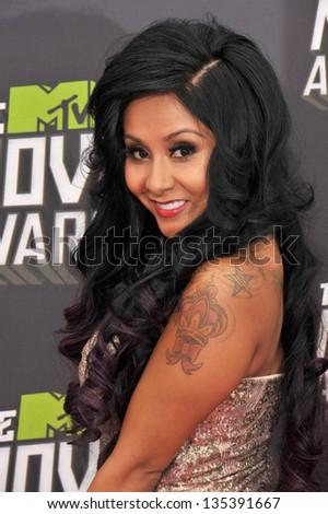 "Nicole ""Snooki"" Polizzi at the 2013 MTV Movie Awards at Sony Studios, Culver City. April 14, 2013  Los Angeles, CA Picture: Paul Smith - stock photo"