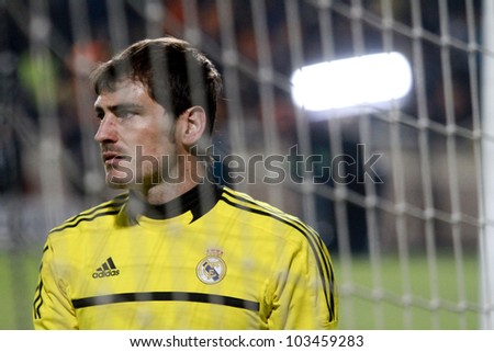 NICOSIA,CYPRUS -MARCH 27: Iker Kasillas of Real Madrid during the UEFA Champions League quarter-final match between APOEL and Real Madrid at GSP Stadium on March 27, 2012 in Nicosia, Cyprus. - stock photo