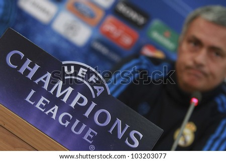 NICOSIA,CYPRUS,MARCH 26:Jose Mourinho during press conference of the UEFA Champions League match between APOEL and Real Madrid at GSP Stadium on March 26, 2012 in Nicosia, Cyprus. - stock photo