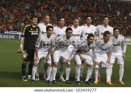 NICOSIA, CYPRUS - MARCH 27: Real Madrid players pose for a photo during the UEFA Champions League quarter-final match between APOEL and Real Madrid at GSP Stadium on March 27, 2012 in Nicosia, Cyprus. - stock photo