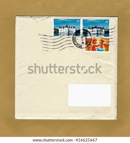 NIEDERAULA, GERMANY - CIRCA MAY 2016: envelope with three cancelled stamps from Germany - stock photo