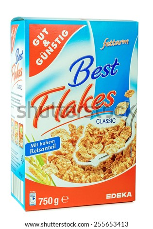 NIEDERSACHSEN, GERMANY FEBRUARY 23. 2015: A box of cheap brand bran flakes cereal from the German supermarket chain Edeka - stock photo