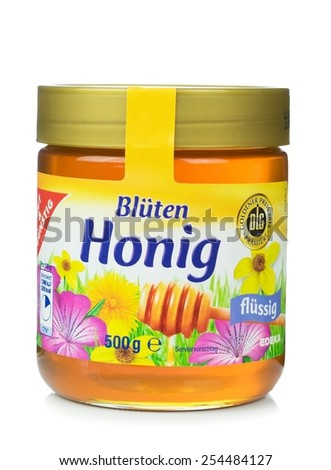 NIEDERSACHSEN, GERMANY FEBRUARY 20.02.2015: A glass jar of gut und guenstig brand honey from the German supermarket chain Edeka - stock photo