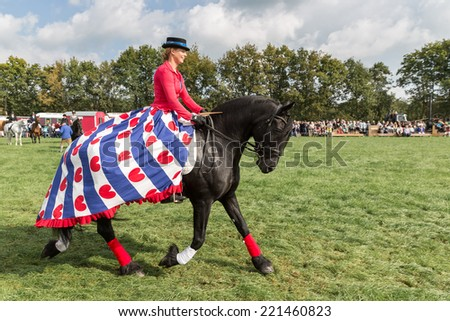 NIEUWEHORNE, THE NETHERLANDS - SEP 27: Amazon riding a black horse during the agricultural festival Flaeijel on September 27, 2014, the Netherlands - stock photo