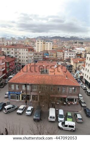 NIGDE, TURKEY - JANUARY 31: Nigde city center from Nigde Castle on January 31, 2015 in Nigde, Turkey. Nigde at Central Anatolia in Turkey. - stock photo