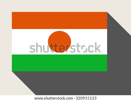 Niger flag in flat web design style. - stock photo