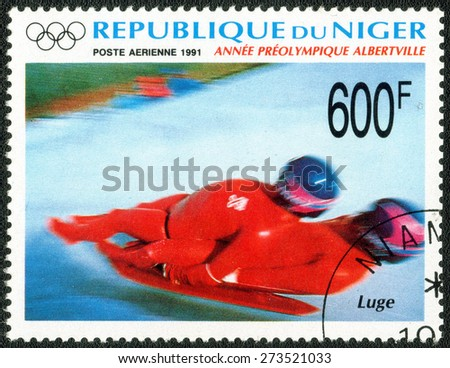 NIGERIA - CIRCA 1991: stamp printed by Nigeria shows a series of images of the Winter Olympics , circa 1991 - stock photo