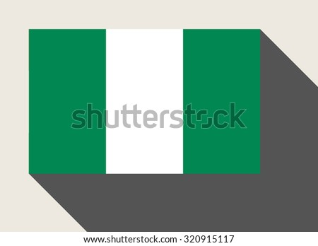 Nigeria flag in flat web design style. - stock photo