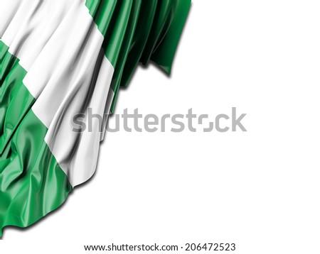 Nigeria Flag with white - stock photo