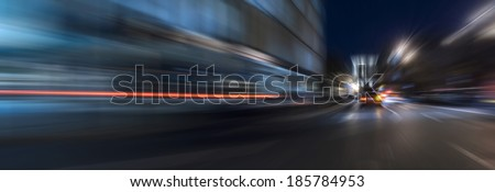 Night acceleration speed motion abstract in blue - stock photo