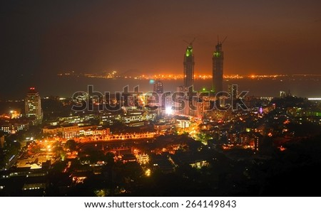 night aerial view of xiamen university in china. - stock photo