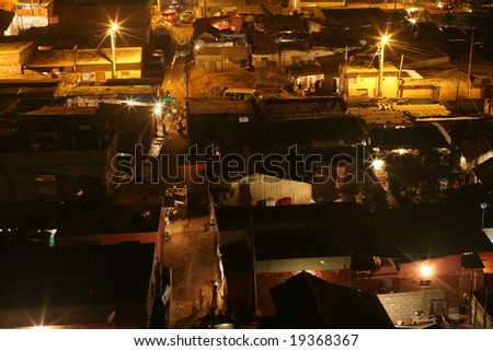 Night at poor district of Luanda (capital of Angola) - stock photo