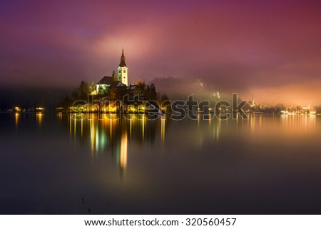 Night at the lake Bled in winter, Slovenia, Europe - stock photo