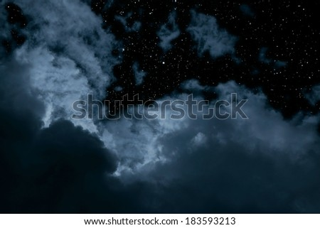 Night background with clouds and stars - stock photo