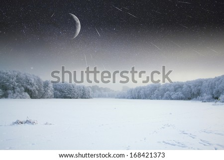 Night before Christmas.Elements of this image furnished by NASA - stock photo