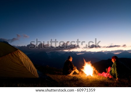 night camping - stock photo