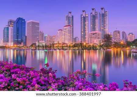 Night cities of Bangkok Thailand. - stock photo