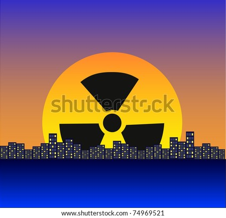 Night city against a dawn, the radiating sun - stock photo