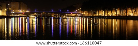 Night city colorful lights of Liege - stock photo