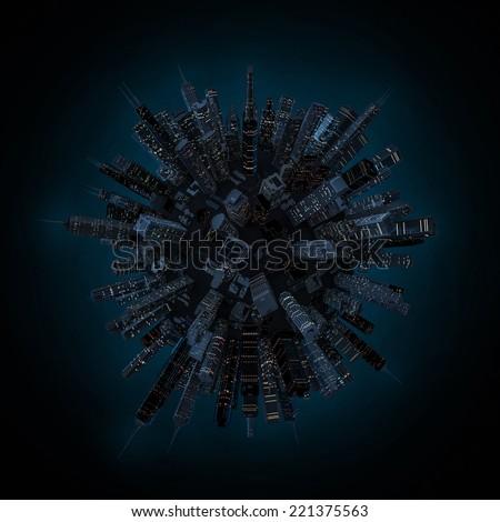 Night city globe - stock photo