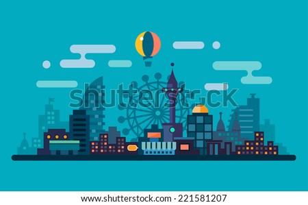 Night city landscape. Skyline with the Ferris wheel and skyscrapers. Flat illustration - stock photo