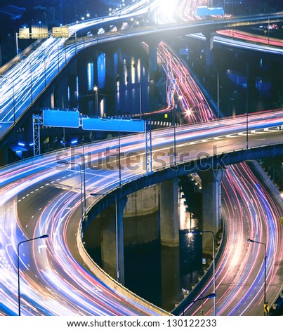 Night city lights - stock photo