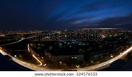 Night city panorama,Kiev,Ukraine, Kharcovskiy  - stock photo