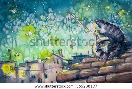Night city scene-cat fishing on the roof.Watercolors illustration. - stock photo