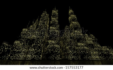 Night city scene rendered on green lights - stock photo