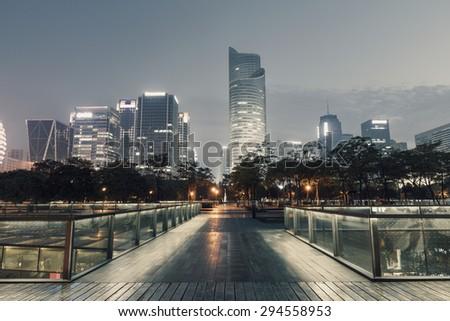 Night city scenery in hangzhou, China - stock photo
