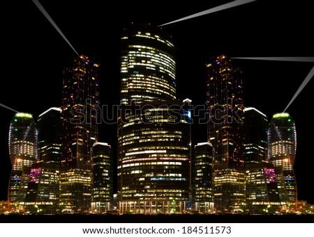 Night city view. - stock photo
