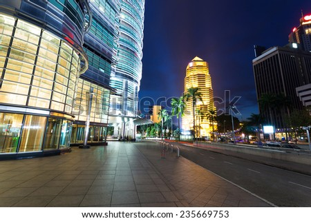 night cityscape and buildings in   kuala lumpur,Malaysia - stock photo