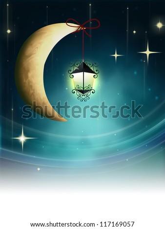 Night fairy tale - lantern on a crescent moon - stock photo