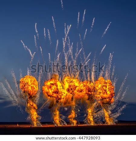 Night fireworks at air show. - stock photo