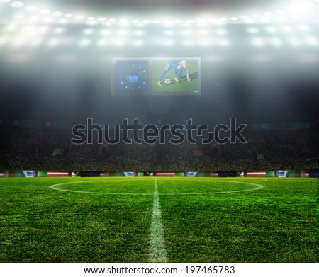 night game at the stadium in football - stock photo